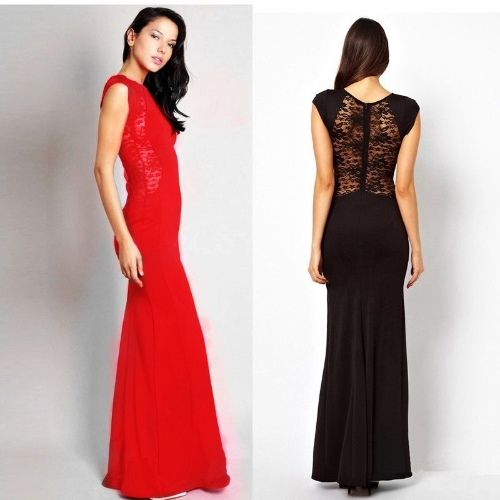 Women Sexy Maxi Dress Lace See-through Back Slim Bodycon Fishtail Split Long Party Dress RedApparel &amp; Jewelry<br>Women Sexy Maxi Dress Lace See-through Back Slim Bodycon Fishtail Split Long Party Dress Red<br>