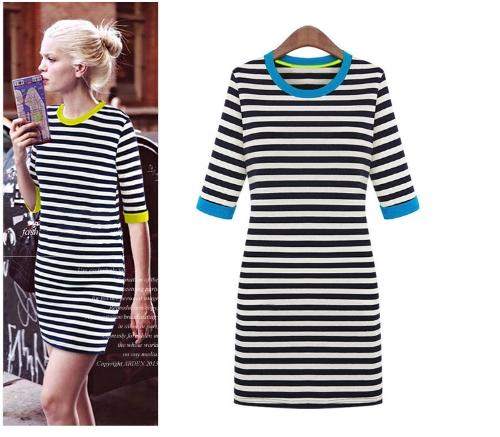 New Style Women Stripe Mini Dress Half Sleeve Round Contrast Neck One-piece Pencil Dress BlueApparel &amp; Jewelry<br>New Style Women Stripe Mini Dress Half Sleeve Round Contrast Neck One-piece Pencil Dress Blue<br>