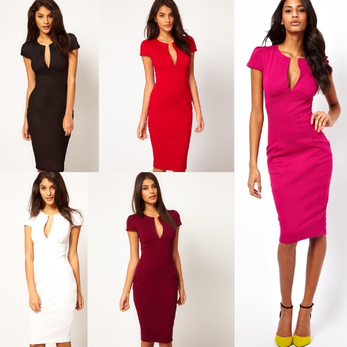Sexy Fashion Women Pencil Dress Plunge V-Neck Pocket Slim Bodycon Midi Dress OL Work Party BurgundyApparel &amp; Jewelry<br>Sexy Fashion Women Pencil Dress Plunge V-Neck Pocket Slim Bodycon Midi Dress OL Work Party Burgundy<br>