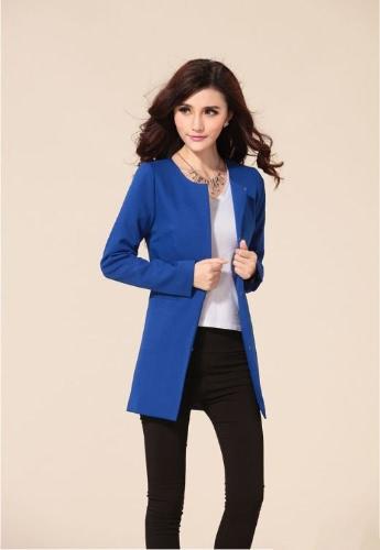Trendy Women Medium-long Blazer Slim Outerwear Long Sleeve Overcoat Royal BlueApparel &amp; Jewelry<br>Trendy Women Medium-long Blazer Slim Outerwear Long Sleeve Overcoat Royal Blue<br>