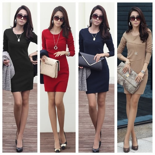 Fashion Elegant Women Sexy Mini Dress Long Sleeve Slim OL Pencil Dress Dark BlueApparel &amp; Jewelry<br>Fashion Elegant Women Sexy Mini Dress Long Sleeve Slim OL Pencil Dress Dark Blue<br>