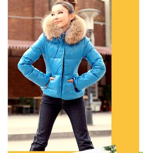 Winter Women Parka Faux Fur Collar Zip Candy Color Thick Outerwear Coat BlueApparel &amp; Jewelry<br>Winter Women Parka Faux Fur Collar Zip Candy Color Thick Outerwear Coat Blue<br>