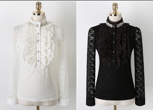 New Elegant Women Lace Shirt Beading Stand Collar Long Sleeve Slim Basic Tops BlackApparel &amp; Jewelry<br>New Elegant Women Lace Shirt Beading Stand Collar Long Sleeve Slim Basic Tops Black<br>