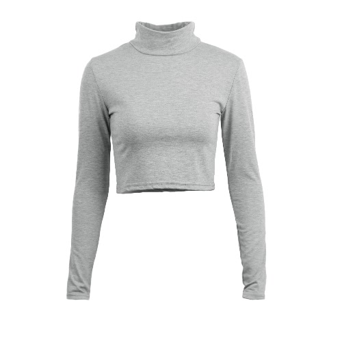Stylish Casual Women T-shirt Polo Neck Long Sleeve Crop Top Blouse Tee T Shirt GreyApparel &amp; Jewelry<br>Stylish Casual Women T-shirt Polo Neck Long Sleeve Crop Top Blouse Tee T Shirt Grey<br>