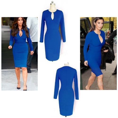 Sexy Women Pencil Dress Celeb Style Keyhole Long Sleeve Stretch Slim Bodycon Party Dress BlueApparel &amp; Jewelry<br>Sexy Women Pencil Dress Celeb Style Keyhole Long Sleeve Stretch Slim Bodycon Party Dress Blue<br>