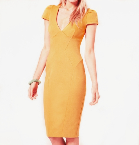 Sexy Women Pencil Dress Plunge V Neck Short Sleeve Midi Length Slim Bodycon Office Party Dress YellowApparel &amp; Jewelry<br>Sexy Women Pencil Dress Plunge V Neck Short Sleeve Midi Length Slim Bodycon Office Party Dress Yellow<br>