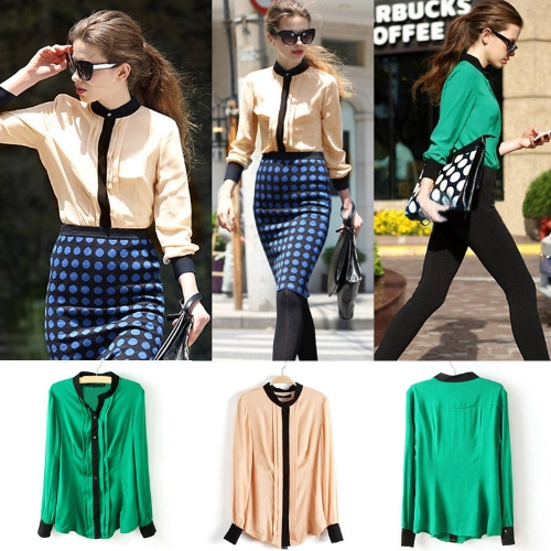 Fashion OL Women Chiffon Shirt Pleated Front Long Sleeve Button Blouse Tops GreenApparel &amp; Jewelry<br>Fashion OL Women Chiffon Shirt Pleated Front Long Sleeve Button Blouse Tops Green<br>