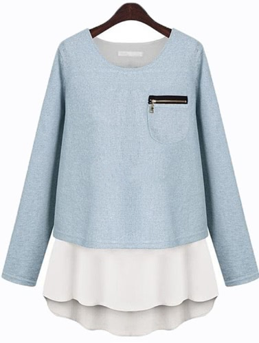 Fashion Women Faux Two-piece Crew Neck Long Sleeve T Shirt Tops Pullover BlueApparel &amp; Jewelry<br>Fashion Women Faux Two-piece Crew Neck Long Sleeve T Shirt Tops Pullover Blue<br>