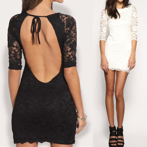 Sexy Women Lace Mini Dress Open Back Round Neck 3/4 Sleeve Slim Party Dress BlackApparel &amp; Jewelry<br>Sexy Women Lace Mini Dress Open Back Round Neck 3/4 Sleeve Slim Party Dress Black<br>