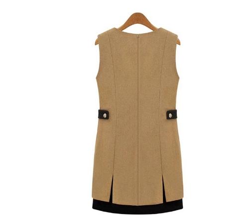 New Elegant Women Thick Dress Sleeveless Patch Pocket Shift Dress KhakiApparel &amp; Jewelry<br>New Elegant Women Thick Dress Sleeveless Patch Pocket Shift Dress Khaki<br>