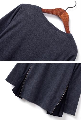 Fashion Women Slim T-shirt Long Sleeve Side Zipper Chiffon Flare Jersey Tops GreyApparel &amp; Jewelry<br>Fashion Women Slim T-shirt Long Sleeve Side Zipper Chiffon Flare Jersey Tops Grey<br>