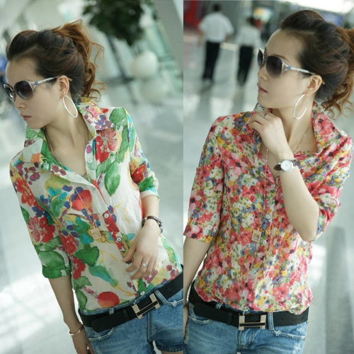 Vintage Fashion Women Shirt Colorful Floral Flower Print Turn-down Collar Button Chiffon Blouse Tops Red/GreenApparel &amp; Jewelry<br>Vintage Fashion Women Shirt Colorful Floral Flower Print Turn-down Collar Button Chiffon Blouse Tops Red/Green<br>