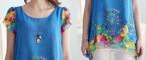 New Fashion Women Chiffon Blouse Floral Print Hollow Out Overlay Petal Sleeves Tops BlueApparel &amp; Jewelry<br>New Fashion Women Chiffon Blouse Floral Print Hollow Out Overlay Petal Sleeves Tops Blue<br>