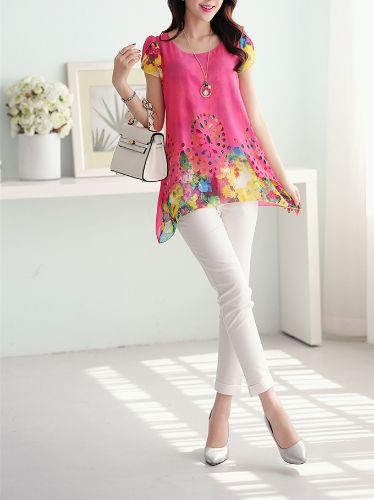 New Fashion Women Chiffon Blouse Floral Print Hollow Out Overlay Petal Sleeves Tops RoseApparel &amp; Jewelry<br>New Fashion Women Chiffon Blouse Floral Print Hollow Out Overlay Petal Sleeves Tops Rose<br>
