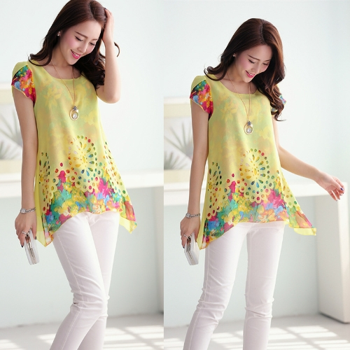 New Fashion Women Chiffon Blouse Floral Print Hollow Out Overlay Petal Sleeves Tops YellowApparel &amp; Jewelry<br>New Fashion Women Chiffon Blouse Floral Print Hollow Out Overlay Petal Sleeves Tops Yellow<br>