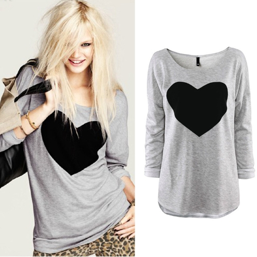 New Fashion Women T-shirt Love Heart Print Long Sleeve Casual Tops GrayApparel &amp; Jewelry<br>New Fashion Women T-shirt Love Heart Print Long Sleeve Casual Tops Gray<br>