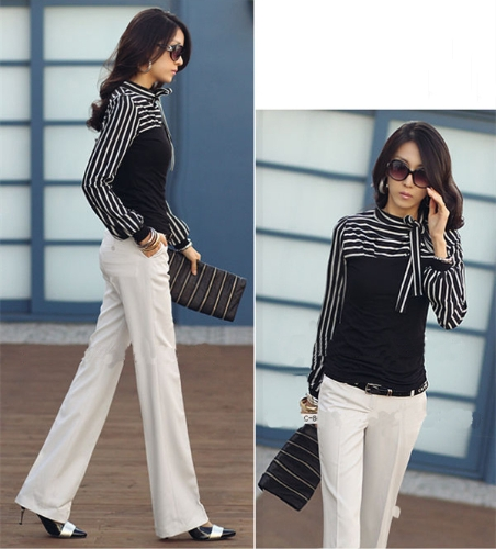 Korean Fashion Women Lady Slim T-Shirt Puff Long Sleeve Polo Neck Stripe Tops BlackApparel &amp; Jewelry<br>Korean Fashion Women Lady Slim T-Shirt Puff Long Sleeve Polo Neck Stripe Tops Black<br>