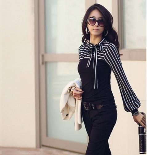 Korean Fashion Women Lady Slim T-Shirt Puff Long Sleeve Polo Neck Stripe Tops BlackApparel &amp; Jewelry<br>Korean Fashion Women Lady Slim T-Shirt Puff Long Sleeve Polo Neck Stripe Tops Black<br>