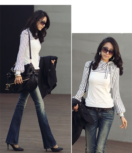 Korean Fashion Women Lady Slim T-Shirt Puff Long Sleeve Polo Neck Stripe Tops WhiteApparel &amp; Jewelry<br>Korean Fashion Women Lady Slim T-Shirt Puff Long Sleeve Polo Neck Stripe Tops White<br>