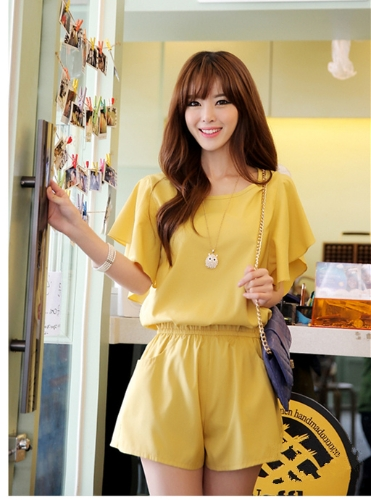 New Cute Women Jumpsuit Butterfly Sleeves Side Pockets Stretch Waist Brief Playsuit Short Rompers YellowApparel &amp; Jewelry<br>New Cute Women Jumpsuit Butterfly Sleeves Side Pockets Stretch Waist Brief Playsuit Short Rompers Yellow<br>