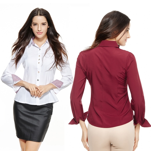 New Fashion Women OL Shirt Long Sleeve Turn-down Collar Button Blouse Tops Burgundy/WhiteApparel &amp; Jewelry<br>New Fashion Women OL Shirt Long Sleeve Turn-down Collar Button Blouse Tops Burgundy/White<br>