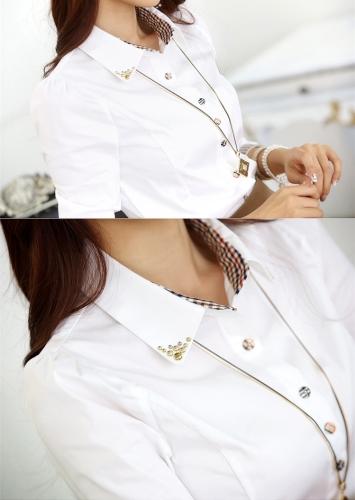 New Fashion Women OL Shirt Long Sleeve Turn-down Collar Button Blouse Tops Burgundy/WhiteApparel &amp; Jewelry<br>New Fashion Women OL Shirt Long Sleeve Turn-down Collar Button Blouse Tops Burgundy/White<br>