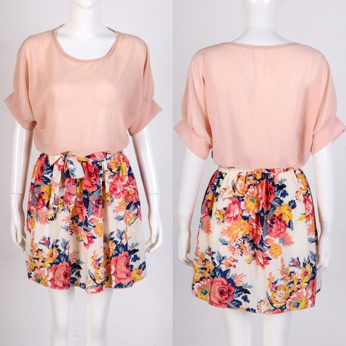 New Fashion Women Dress Chiffon Top Contrast Floral Print Skirt Stretch Waist Batwing Sleeves PinkApparel &amp; Jewelry<br>New Fashion Women Dress Chiffon Top Contrast Floral Print Skirt Stretch Waist Batwing Sleeves Pink<br>