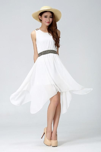 New Elegant Women Chiffon Dress Asymmetric Hem Rivet to Shoulders Sequined Stretch Waistband WhiteApparel &amp; Jewelry<br>New Elegant Women Chiffon Dress Asymmetric Hem Rivet to Shoulders Sequined Stretch Waistband White<br>