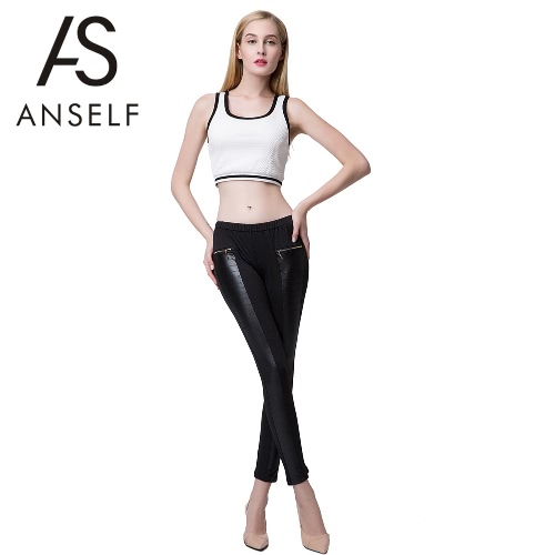 Fashion Women Leggings Leather Look Panels Elastic Waist Stretchy Skinny Pants Trousers Pink/Burgundy/BlackApparel &amp; Jewelry<br>Fashion Women Leggings Leather Look Panels Elastic Waist Stretchy Skinny Pants Trousers Pink/Burgundy/Black<br>