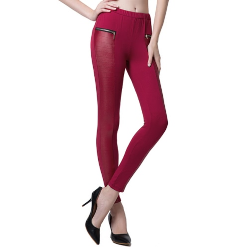 Fashion Women Leggings Leather Look Panels Elastic Waist Stretchy Skinny Pants Trousers BurgundyApparel &amp; Jewelry<br>Fashion Women Leggings Leather Look Panels Elastic Waist Stretchy Skinny Pants Trousers Burgundy<br>