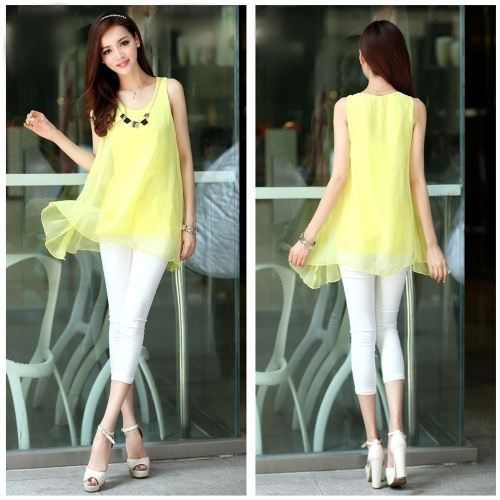 New Fashion Women Chiffon Blouse Candy Color Sleeveless Irregular Hem Loose Tank Tops YellowApparel &amp; Jewelry<br>New Fashion Women Chiffon Blouse Candy Color Sleeveless Irregular Hem Loose Tank Tops Yellow<br>