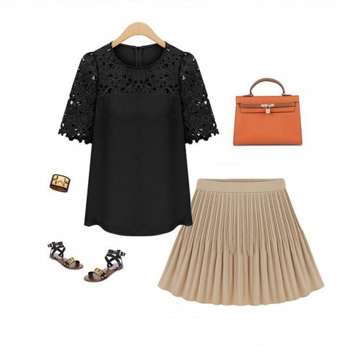 New Fashion Women Chiffon Blouse Hollow Lace Short Sleeve Round Neck Shirt Tops BlackApparel &amp; Jewelry<br>New Fashion Women Chiffon Blouse Hollow Lace Short Sleeve Round Neck Shirt Tops Black<br>