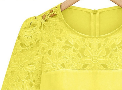 New Fashion Women Chiffon Blouse Hollow Lace Short Sleeve Round Neck Shirt Tops YellowApparel &amp; Jewelry<br>New Fashion Women Chiffon Blouse Hollow Lace Short Sleeve Round Neck Shirt Tops Yellow<br>