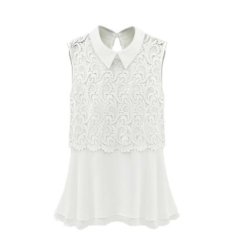 Fashion Women Chiffon Blouse Crochet Lace Turn-down Collar Sleeveless Top Cute Slim Shirt WhiteApparel &amp; Jewelry<br>Fashion Women Chiffon Blouse Crochet Lace Turn-down Collar Sleeveless Top Cute Slim Shirt White<br>