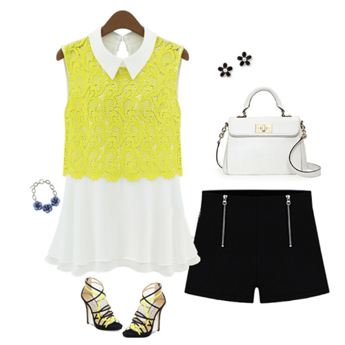 Fashion Women Chiffon Blouse Crochet Lace Turn-down Collar Sleeveless Top Cute Slim Shirt YellowApparel &amp; Jewelry<br>Fashion Women Chiffon Blouse Crochet Lace Turn-down Collar Sleeveless Top Cute Slim Shirt Yellow<br>