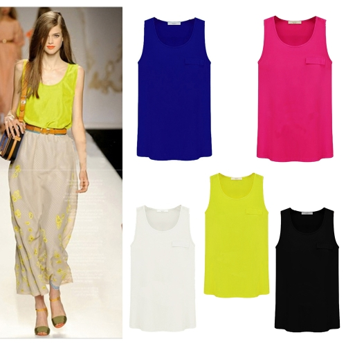 New Fashion Women Tank Top Candy Color Round Neck Sleeveless Pocket Shirt Blouse Tops RoseApparel &amp; Jewelry<br>New Fashion Women Tank Top Candy Color Round Neck Sleeveless Pocket Shirt Blouse Tops Rose<br>