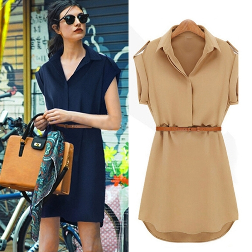 New Fashion Women Shirt Dress Turn-down Collar Short Sleeve Mini Dress CamelApparel &amp; Jewelry<br>New Fashion Women Shirt Dress Turn-down Collar Short Sleeve Mini Dress Camel<br>