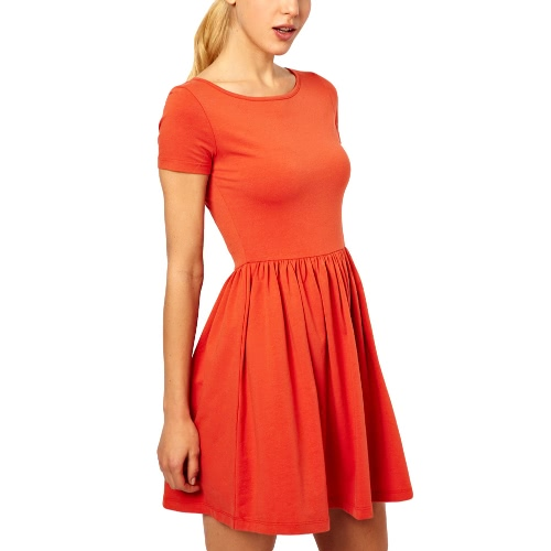 New Casual Women Jersey Dress Solid Design Short Sleeves Slim Fit Sweet One-piece OrangeApparel &amp; Jewelry<br>New Casual Women Jersey Dress Solid Design Short Sleeves Slim Fit Sweet One-piece Orange<br>