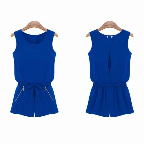 New Fashion Women Chiffon Rompers Open Back Sleeveless Short Pants Jumpsuit Royal BlueApparel &amp; Jewelry<br>New Fashion Women Chiffon Rompers Open Back Sleeveless Short Pants Jumpsuit Royal Blue<br>