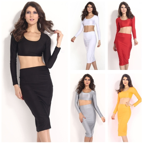Sexy Women Two Pieces Long Sleeve Bodycon Crop Top Pencil Skirt Dress Twin Set Party Clubwear YellowApparel &amp; Jewelry<br>Sexy Women Two Pieces Long Sleeve Bodycon Crop Top Pencil Skirt Dress Twin Set Party Clubwear Yellow<br>