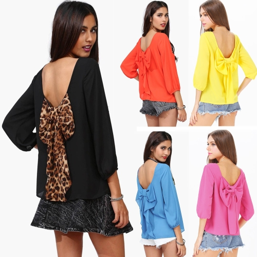 Sexy Women Chiffon Blouse Cut Out Back Bowknot Loose Tops YellowApparel &amp; Jewelry<br>Sexy Women Chiffon Blouse Cut Out Back Bowknot Loose Tops Yellow<br>