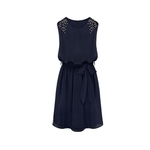 Fashion Women Chiffon Dress Handmade Bead Shoulder Sleeveless Pleated Vest Dress Dark BlueApparel &amp; Jewelry<br>Fashion Women Chiffon Dress Handmade Bead Shoulder Sleeveless Pleated Vest Dress Dark Blue<br>