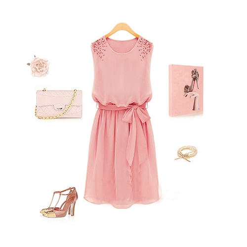 Fashion Women Chiffon Dress Handmade Bead Shoulder Sleeveless Pleated Vest Dress PinkApparel &amp; Jewelry<br>Fashion Women Chiffon Dress Handmade Bead Shoulder Sleeveless Pleated Vest Dress Pink<br>
