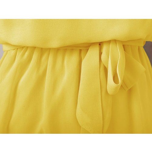 Fashion Women Chiffon Dress Handmade Bead Shoulder Sleeveless Pleated Vest Dress YellowApparel &amp; Jewelry<br>Fashion Women Chiffon Dress Handmade Bead Shoulder Sleeveless Pleated Vest Dress Yellow<br>