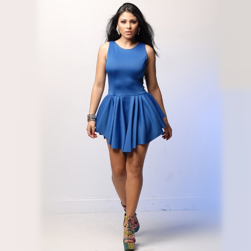 Fashion Sexy Women Bandage Dress Sleeveless Pleated Asymmetrical Flare Party Dress BlueApparel &amp; Jewelry<br>Fashion Sexy Women Bandage Dress Sleeveless Pleated Asymmetrical Flare Party Dress Blue<br>