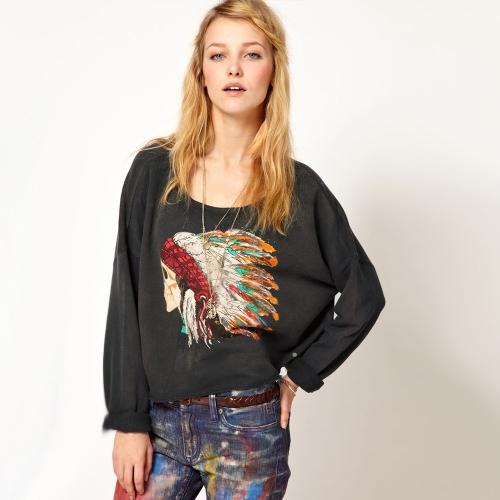 Vintage Women Punk Sweatshirt Indian Chief Head Print O-Neck Long Sleeve Pullover Tops GreyApparel &amp; Jewelry<br>Vintage Women Punk Sweatshirt Indian Chief Head Print O-Neck Long Sleeve Pullover Tops Grey<br>
