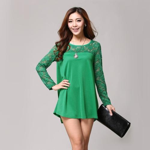 Fashion Women Loose Blouse Lace Splice Crew Neck Long Sleeve Tee Tops Shirt GreenApparel &amp; Jewelry<br>Fashion Women Loose Blouse Lace Splice Crew Neck Long Sleeve Tee Tops Shirt Green<br>