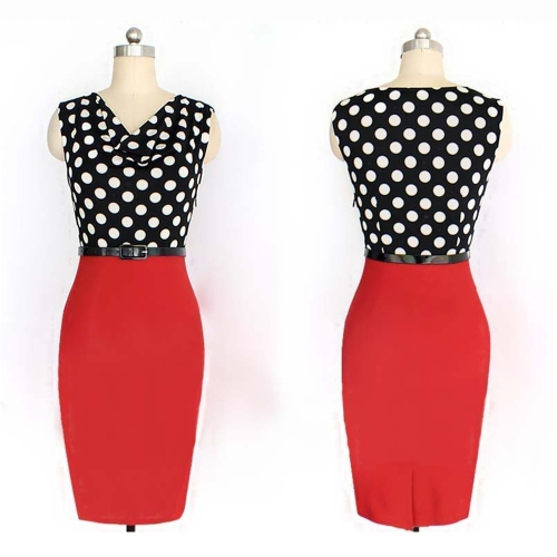 New Fashion OL Women Pencil Dress Polka Dot Draped Neck Patchwork Sleeveless Bodycon Belted Dress RedApparel &amp; Jewelry<br>New Fashion OL Women Pencil Dress Polka Dot Draped Neck Patchwork Sleeveless Bodycon Belted Dress Red<br>
