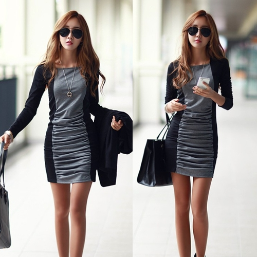 New Fashion Women Dress Patchwork Pleated Square Collar Long Sleeves Mini Sexy One-piece BlackApparel &amp; Jewelry<br>New Fashion Women Dress Patchwork Pleated Square Collar Long Sleeves Mini Sexy One-piece Black<br>