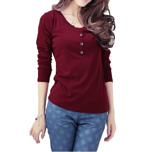 New Fashion Women T-Shirt Crew Neck Long Sleeves Button Decoration Casual Tops BurgundyApparel &amp; Jewelry<br>New Fashion Women T-Shirt Crew Neck Long Sleeves Button Decoration Casual Tops Burgundy<br>